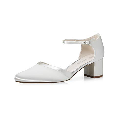 Rainbow Club Brautschuhe Stacy Satin Schuhe 5 cm FÄRBBAR High Heels Pumps Ivory mit Riemchen Blockabsatz (Ivory, 38)
