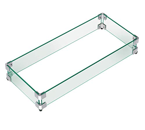 "GASPRO 29"" x 13"" x 6"" Rectangular Fire Pit Glass Wind Guard, Clear Tempered Glass Wind Guard 5/16inch Thickness Replacement for Outland Series 401 Outdoor Propane Fire Pit Tables"