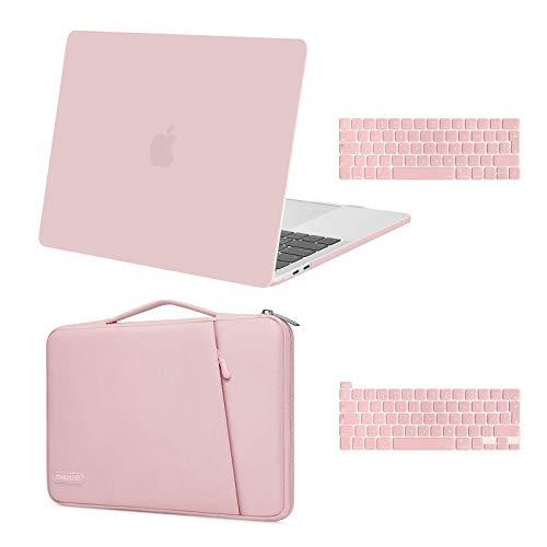 MOSISO Coque Compatible avec MacBook Pro 13 Pouces 2020-2016 A2338 M1 A2251 A2289 A2159 A1989 A1706 A1708, Plastique Coque Rigide&360 Protecteur Sleeve Sac&Protection Clavier, Quartz Rose
