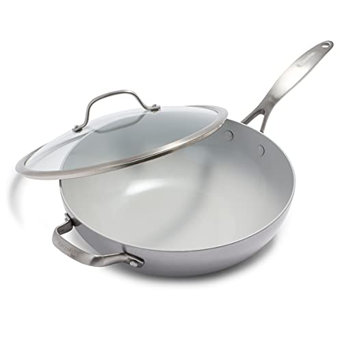 GreenPan Venice Pro Stainless Steel Healthy Ceramic Nonstick Light Gray Wok with Lid, 12'