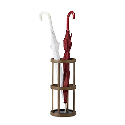 Relaxdays Schirmständer rund, Schirmhalter Bambus, Stockhalter mit Auffangschale, Metall, HBT: 45x20,5x20,5 cm, braun