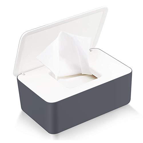 Caja para Toallitas Húmedas, Dispensador de toallitas de pañal Caja, Caja de Servilletas, Bebé Caso Titular Caja, Pañales de Bebé Mojado Tejido Caja (Blanco + Gris-A)