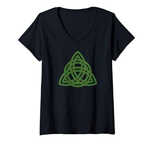 Womens Double-Strand Celtic Trinity Knot Irish Art V-Neck T-Shirt