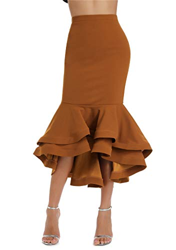 Women's Vintage High Waist Wear to Work Bodycon Mermaid Pencil Skirt(Recommend to Choose a Larger Size) Brown
