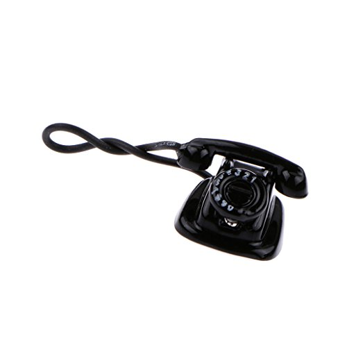 Homyl 1/12 Puppenhaus Puppenstuben Zubehör Miniatur Alten Telefon Modell - Schwarz
