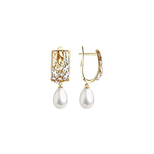 Pendientes de oro rosa 585 con perla y circonita.