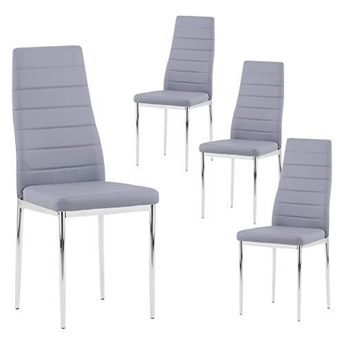 GOLDFAN Esszimmerstühle 4er Set Moderner Eleganter Wohnzimmerstuhl Bürostühle Küchenstühle mit Verchromte Beine Grau
