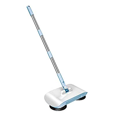 #N/A 3 in 1 Push-Power Broom 360 Degree Rotating Cleaning Sweeper Mopping Tool Non-Electric - Blue