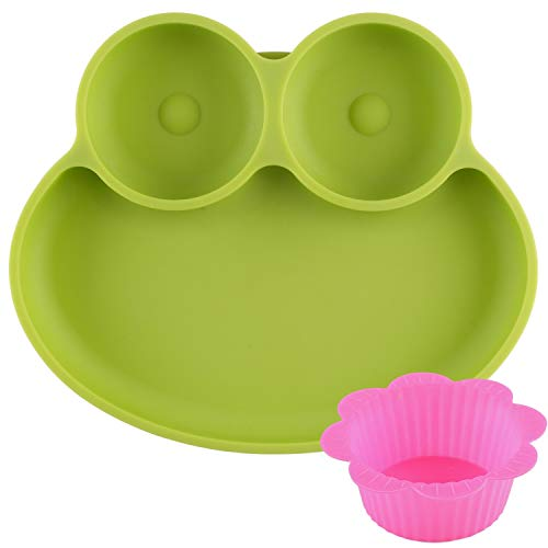 Strong Suction Silicone Plate for Feeding Toddlers and Kids - Non-Slip, Divided and Portable - 100% Food Grade - Fits Baby Highchair Trays - Dishwasher and Microwave Safe - Flexible and Resistant