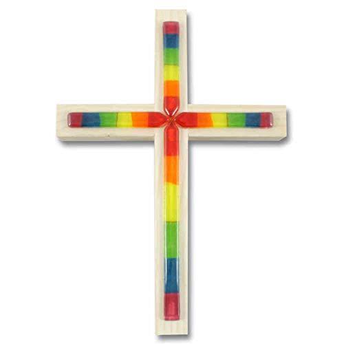 kruzifix24 Devotionalien Pared Cruz Cruz de madera abeto, con revestim