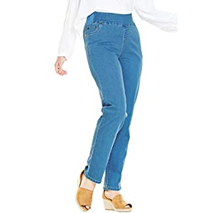 Women's Plus Size Petite Straight Leg Smooth Waist Jean