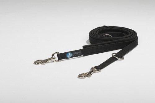anny-x gepolsterte Führleine 1,5 cm schwarz schwarz - Kleiner Karabiner