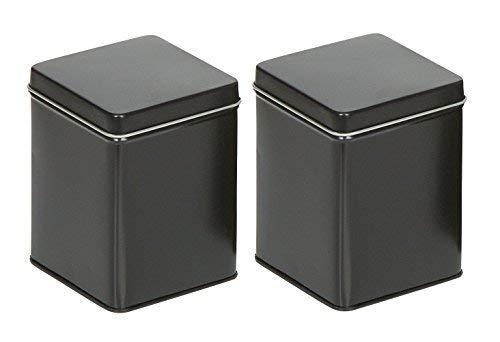 mikken # 42113# 2latas de té (para 100g dosificadores, tarros Incluye 2Etiquetas para rotular, Metal, Negro, 7.6x 7.6x 10cm
