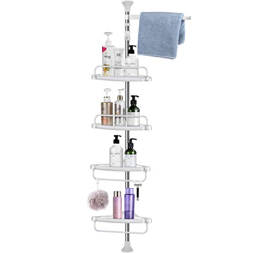 Homemaxs Corner Shower Caddy 304 Stainless Steel Shower Caddy Tension Pole More Durable Adjustable Bathroom Shelf with Upgrade Cone NonSlip Silicone Mat Stable in Bathroom