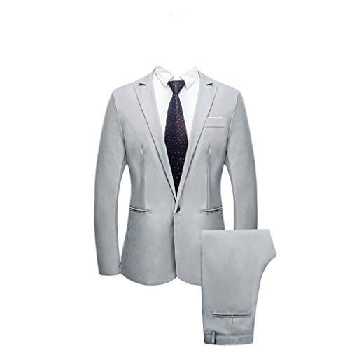 catmoew Herrenanzug Herren 2 Teilig Anzüge Einfarbig Slim fit Business Anzug 1-Knopf Anzugjacke mit Anzughose Anzug Herren Hochzeit Anzug Herrenanzug Business Anzüge