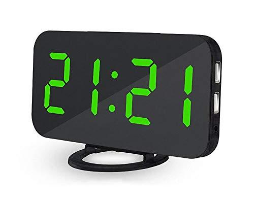 NLHPB Elektronische wekker, grote digitale wekker met klok, instelbare helderheid, 2 USB-laadpoorten, grote snooze-knop, geschikt voor woon- en slaapkamer.