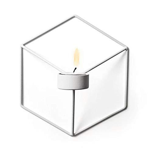 GWFVA Wandkerzenhalter Nordic Style 3D Geometric Candlestick Metall Wandhalterung Kerzenhalter Wandleuchte Kleine Teelichthalter für Wohnzimmer Hochzeit Schlafzimmer Dekor (2 Stück, Weiß)