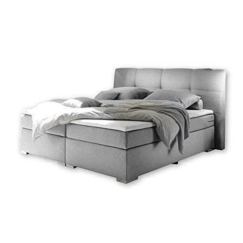 PENSACOLA 1 Boxspringbett 180x200, Silber - Modernes Doppelbett mit Bonell Federkern Matratze & Komfortschaum Topper - 203 x 114 x 215 cm (B/H/T)