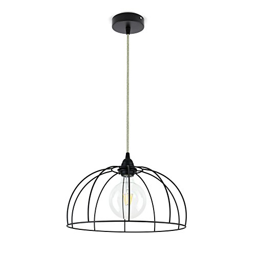 CD Cables-Lampada ophanging, lampenkap, draad, metaaldraad, zwart, kabel canvas beige 1 meter