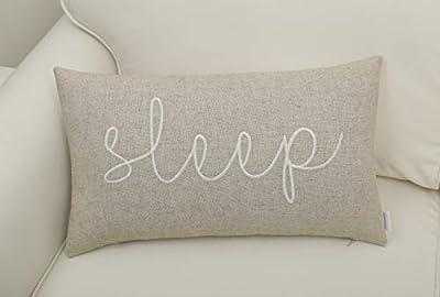 "EURASIA DECOR DecorHouzz Sleep Sentiment Embroidered Pillow Cover Cushion Cover Pillow Cases Throw Pillow Decorative Pillow Wedding Birthday Anniversary Gift 12""x20"""
