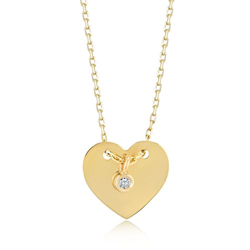 Damen Gold Kette Mit Anhänger 14 Karat / 585 Gelbgold Herz mit einem schönen 0.01 Ct. Diamant als Anhänger / 14k Gold with Diamond Heart Necklace Kettegröße 45cm