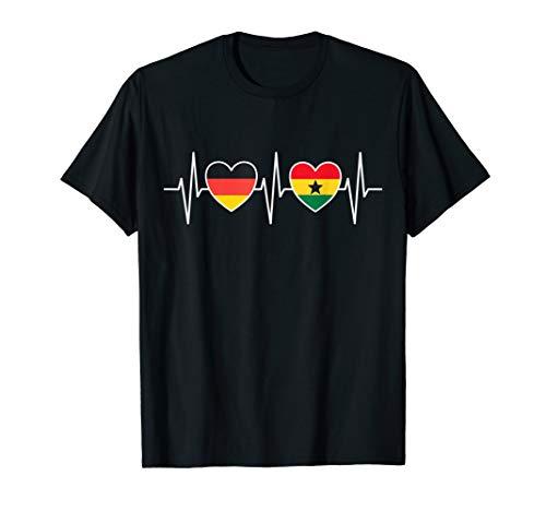 Deutschland und Ghana Flaggen Fahnen Herz T-Shirt