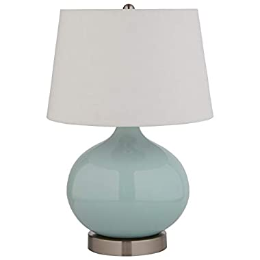 Stone & Beam Round Ceramic Table Lamp With Light Bulb and White Shade - 11 x 11 x 20 Inches, Cyan Blue