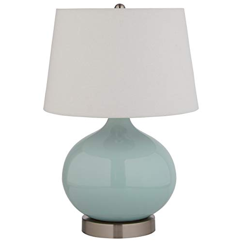 Amazon Brand  Stone & Beam Round Ceramic Table Lamp With Light Bulb and White Shade - 11 x 11 x 20 Inches, Cyan Blue