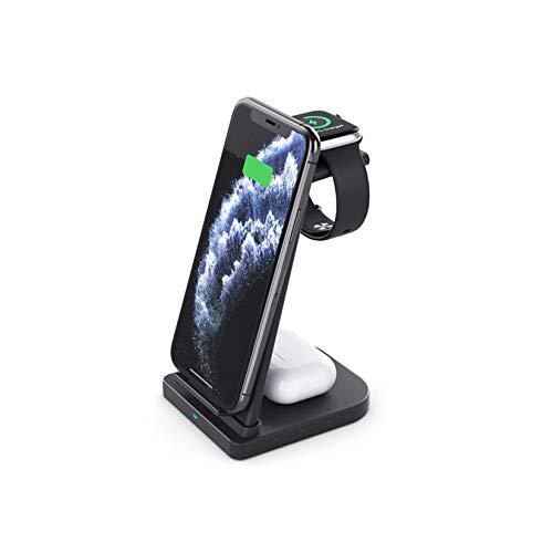 LORIEL 3 En 1 Cargador Inalámbrico, Soporte De Carga Inalámbrico Rápido De 15W Qi, Soporte De Carga Multifuncional Plegable, Adecuado para Teléfonos Y Relojes iOS, Etc,Negro