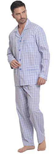 El Búho Nocturno - Herren Karierter Zweiteiliger Pyjama mit Langen Ärmeln   Schlafanzug, Klassische Nachtwäsche für Männer - Popelinestoff, 100{dc132a814d534a30aa1c64ac03147892b73d7d9247100f0bea3ccfb370215588} Baumwolle - Größe L - Himmelblau, Lila und Weiß