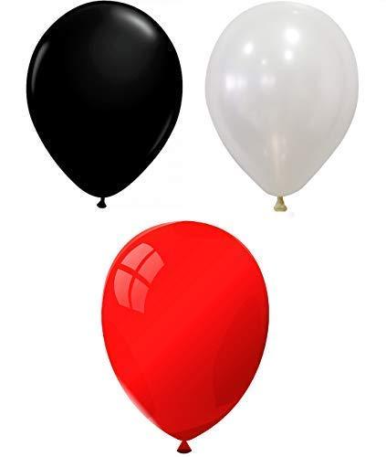 INERRA Globos - Pack of 75 Mezclado (25 X Negro & 25 X Rojo & 25 X Blanco) Látex 10' For Helio o Aire