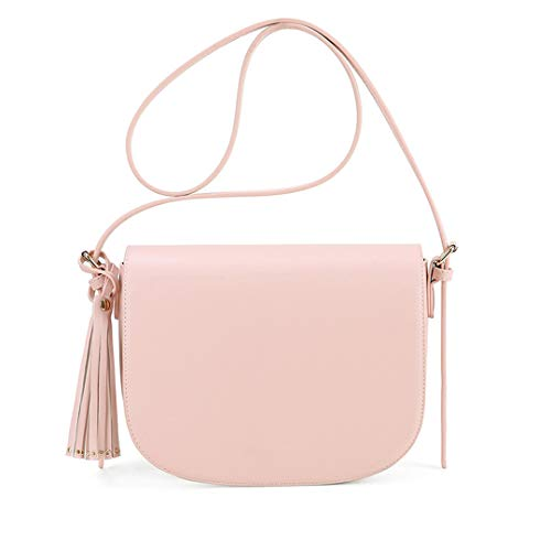 Crossbody Bags Verstellbare Satteltasche Schultertasche PU Leder Messenger Bag mit Quaste, Rose (Pink) - MB190609