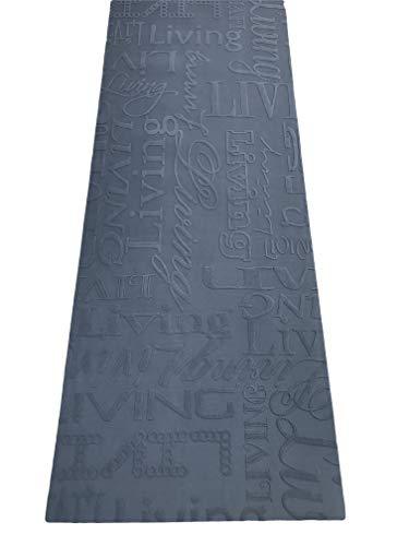 Tappeto cucina 67 X 300 living design scritte nero grigio lavabile in lavatrice antiscivolo (67x300 cm)