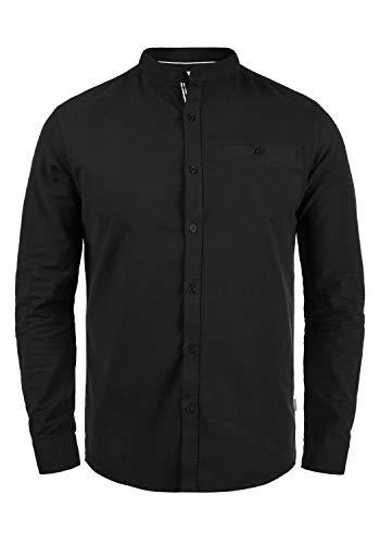 !Solid Allion Herren Hemd Langarmhemd Freizeithemd mit Stehkragen Slim Fit, Größe:XXL, Farbe:Black (9000)