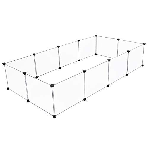 HGAUGE Parc pour animaux domestiques, enclos modulaire en plastique pour cochon d'Inde, lapin, hamster, parc à 12 panneaux, 35 cm x 45 cm