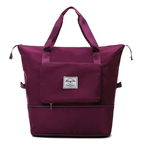 Bolsa de viaje plegable de gran capacidad, unisex para mujer, equipaje de mano, viaje de negocios, viajes de negocios, morado/rojo, L,