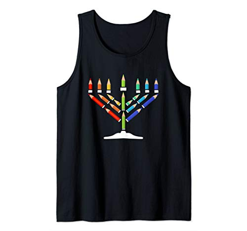 Hanukkah Menorah Colored Pencil Gifts for Jews Tank Top