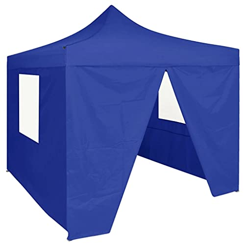 HUANGDANSP Carpa Plegable Profesional con 4 Paredes Acero Azul 2x2 m Casa...