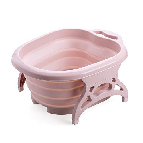 足湯バケツ 折りたたみ 足湯器 足湯たんぽ 折り畳み可 足湯ばけつ 足の冷え対策 疲労軽減 持ち運び収納 ピンク(Pink)