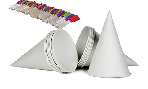 100 - 6 Ounce Waxed Coated Paper Snow Cone + 25 Assorted Flavors Wrapped Snow Cone Spoons.