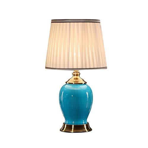 Lámpara de lectura QFF azul blanco cerámica lámpara de mesa, mesita de noche o escritorio iluminación E27, luz suave, no glara. Tamaño de lectura: 29 x 29 x 51 cm cálido., b