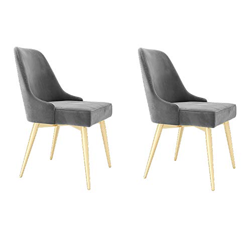 ALUNVA Set Of 2 Velvet Dining Chair,Living Room Furniture Sofa Side Chair,With Golden Metal Legs Armless Thick Padded Back Home Office Design Chair-Grey 53 * 50 * 86(cm)