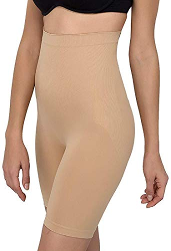 Dilency Sales Women's All-In-1 Tummy, Back, Thighs, Hips Seamless Shapewear Body Shaper (Newww-01, Skin, Best Fits Upto 32 to 36 Waist Size)