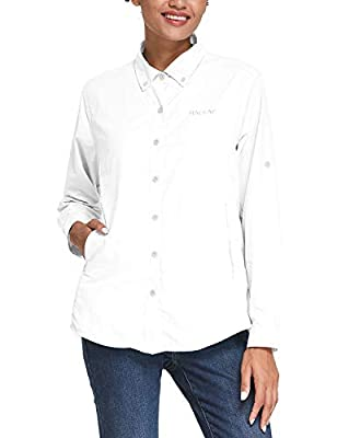BALEAF Women's Hiking Shirts UPF 50 Quick Dry Zip Pockets Long Sleeve Camping Fishing Travelling White L
