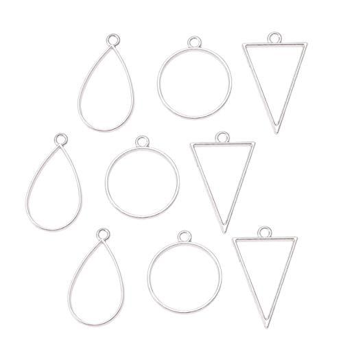 Supvox Anhänger mit offener Lünette (30 Stück) bezaubern Verschiedene geometrische Hohlrahmen-Anhänger-Rohlinge für Schmuckzubehör