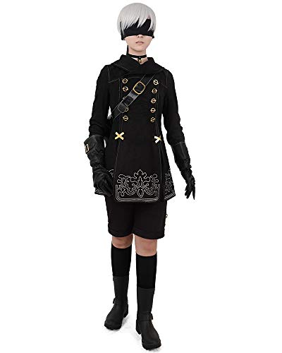 miccostumes No.9 Type S Cosplay Costume with Bag Gloves Eyepatch (S) Black