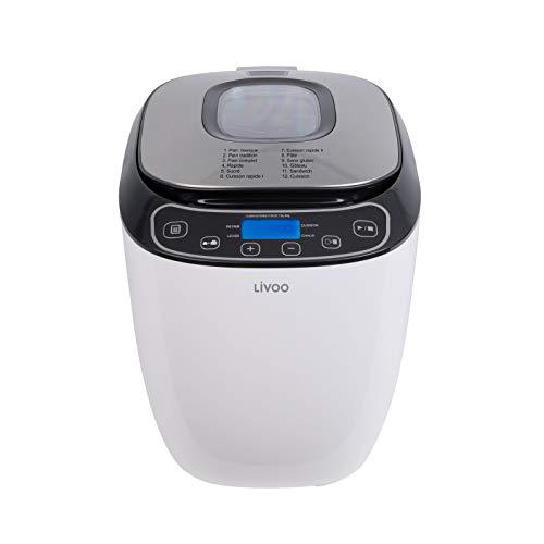 Panificadora automática para pan de 700 o 900 g panificadora, 12 programas automáticos, pantalla LCD función de mantenimiento en caliente de 60 minutos y temporizador de 13 horas 3 niveles de tostado