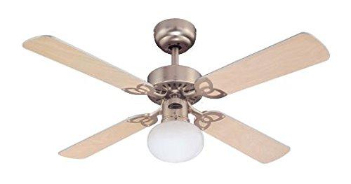 Westinghouse Lighting Ventilatore a Soffitto Vegas E27, 60 W, Finitura in Alluminio, Pale en Acero Chiaro/Argento