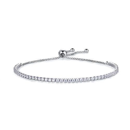 Jösva Damen Silber Armband, 925 Sterling Silber Verstellbar Tennis Armband Armreif, Einstellbar Armkette mit Weiß Rund Zirkonia Perfekt als Geburtstagsgeschenk