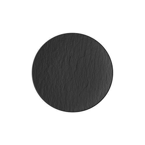 Villeroy und Boch - Manufacture Rock Brotteller, 16 cm, Premium Porzellan, spülmaschinen-, mikrowellengeeignet, schwarz